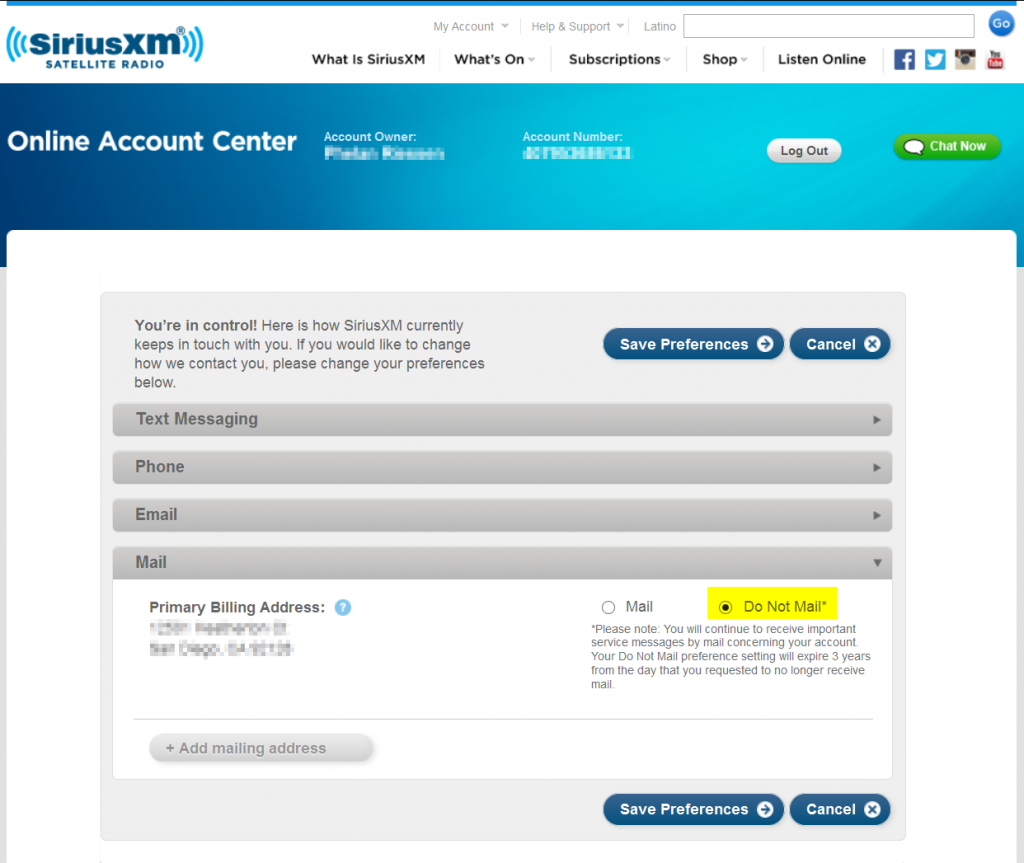 Opt out of SiriusXM Radio direct mail