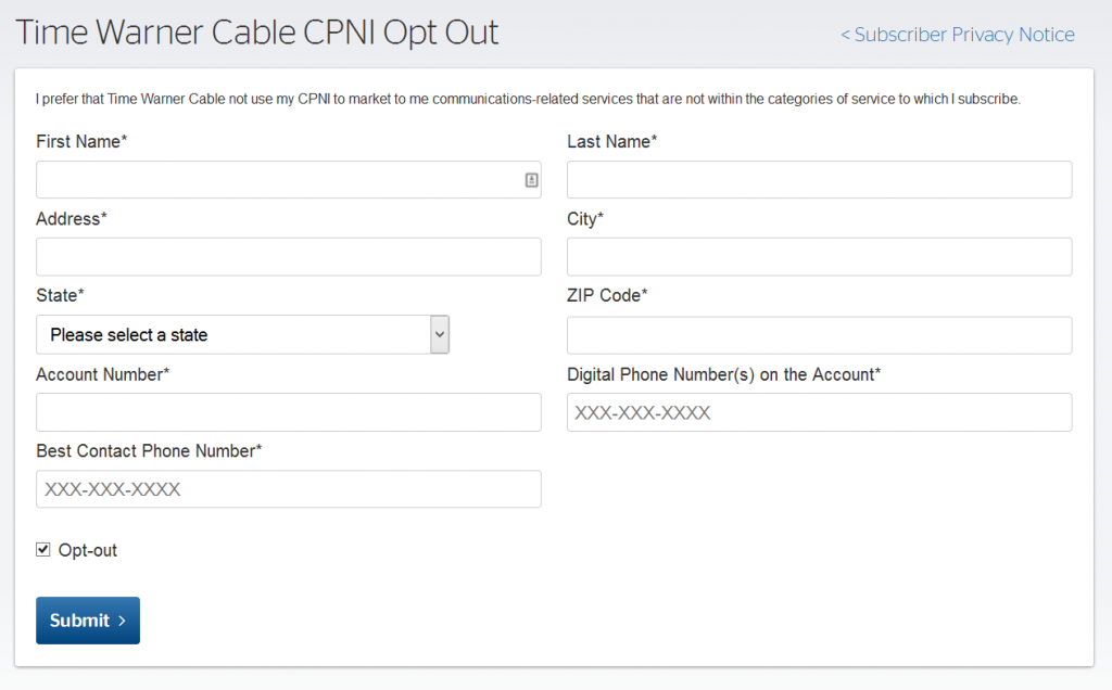 Time Warner CPNI Opt Out Form