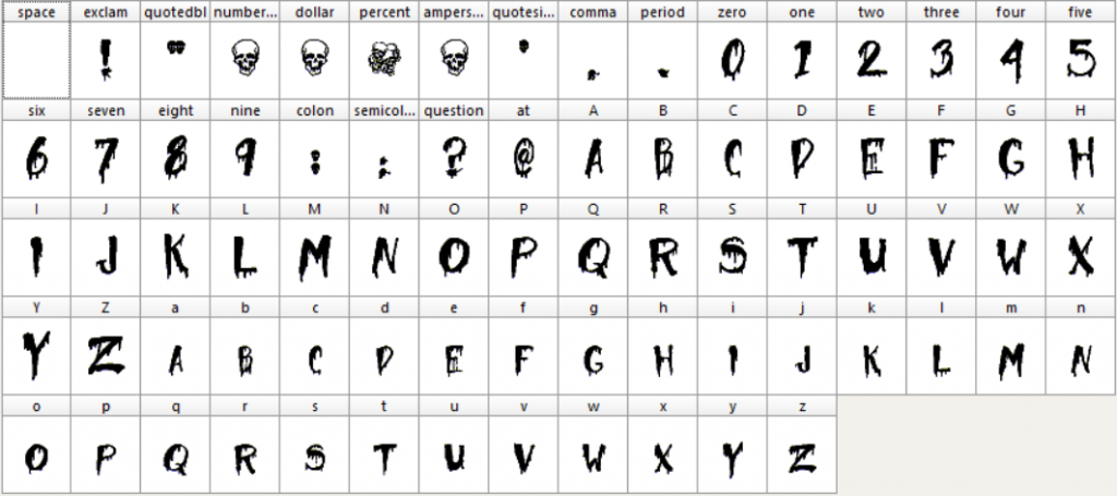 Halloween Too font characters